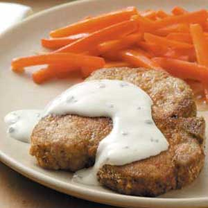 Breaded Pork Chops with Chive and Onion Cream Cheese Recipe