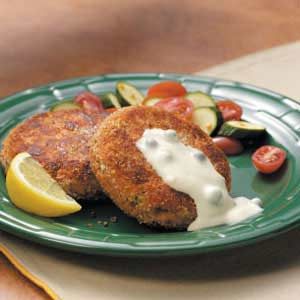 Salmon Patties with Caper Mayonnaise Recipe