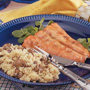 Maple Salmon with Mushroom Couscous Recipe