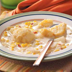 Corn Chowder with Dumplings Recipe
