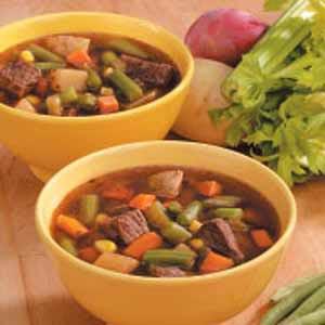 Chunky Veggie Beef Soup Recipe