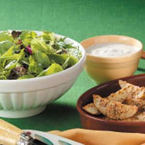 Greens with Creamy Herbed Salad Dressing