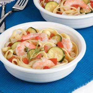 Veggie Shrimp Fettuccine