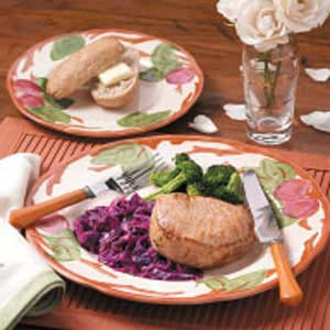 Pork Chops with Cranberry Red Cabbage Recipe