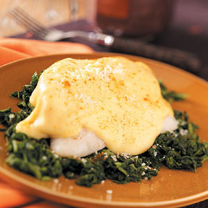 Cheesy Fish Fillets with Spinach Recipe