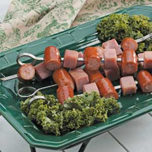 Ham 'n' Sausage Kabobs Recipe