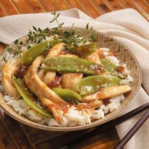 Apricot Chicken and Snow Peas Recipe