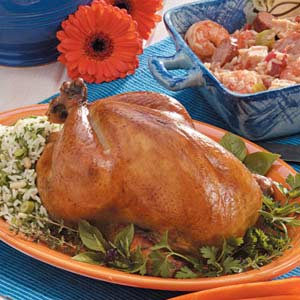 Roasted Chicken with Basil-Rice Stuffing Recipe