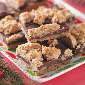 Fudge-Nut Oatmeal Bars Recipe