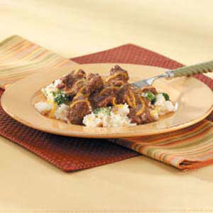 Beef Tips on Potatoes Recipe
