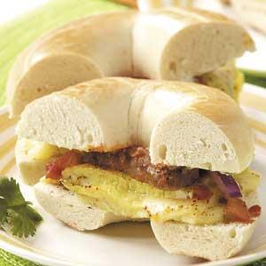 Sausage Omelet Bagels Recipe
