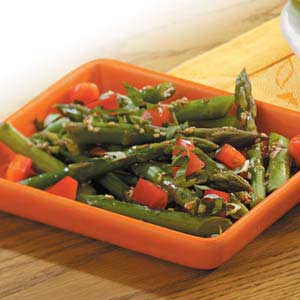 Asparagus with Sesame Vinaigrette Recipe