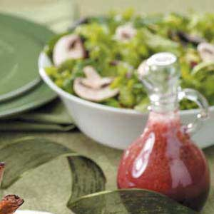 Greens and Mushrooms with Raspberry Dressing Recipe