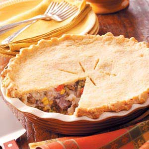 Pepper, Onion and Beef Potpie Recipe