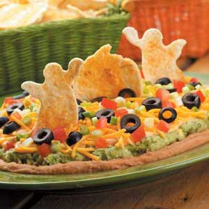 Tex-Mex Dip with Spooky Tortilla Chips Recipe