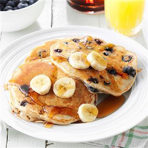 Banana blueberry pancakes recipe taste of home banana blueberry pancakes recipe ccuart Image collections