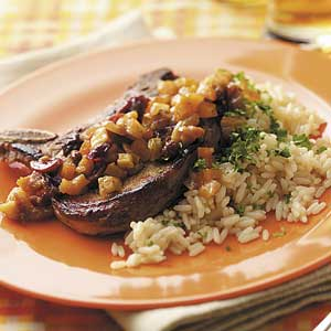 Fruit-Topped Pork Chops and Rice Recipe