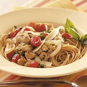 Sweet Onion 'n' Sausage Spaghetti Recipe