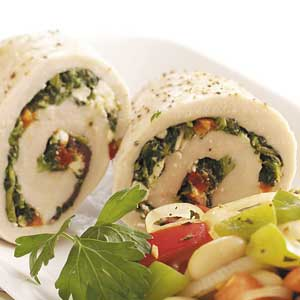 Spinach-Feta Chicken Rolls Recipe