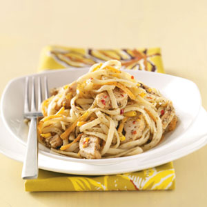 Linguine Pesto with Italian Chicken Strips Recipe