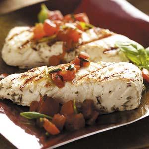 Halibut with Basil Tomato Sauce Recipe