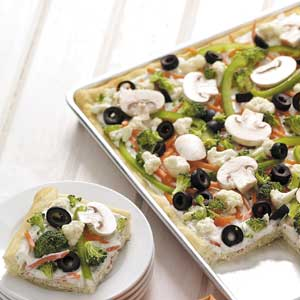 Makeover Veggie Pizza Squares Recipe