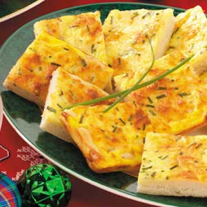 Cheese 'n' Egg Pizza Squares Recipe