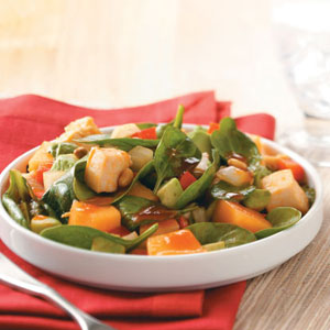 Chicken-Melon Spinach Salad Recipe