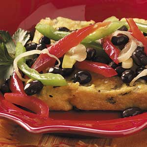 Basil Polenta with Beans 'n' Peppers Recipe