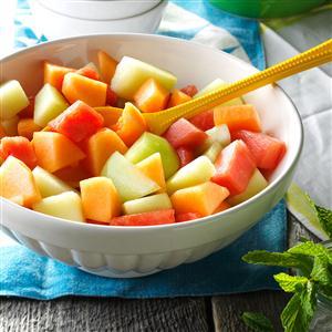 Melon with Serrano-Mint Syrup Recipe
