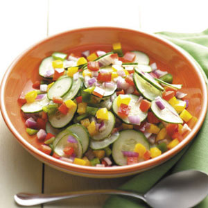 Cucumber Salad with Peppers and Onion Recipe