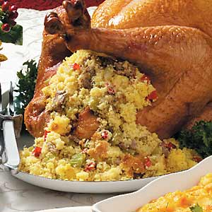Turkey With Sausage Corn Bread Stuffing Recipe Taste Of Home