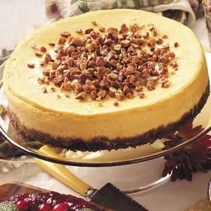 White Chocolate Pumpkin Cheesecake with Almond Topping Recipe