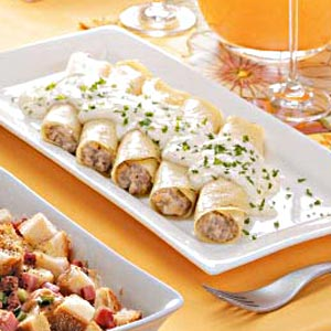 Sausage-Filled Crepes Recipe