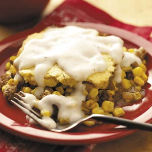Meaty Corn Bread Casserole