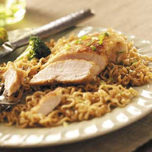 Chicken over Curly Noodles Recipe