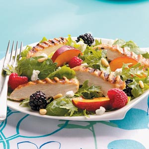 Lime Chicken on Fruited  Spring Greens Recipe