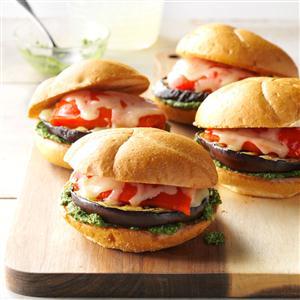 Grilled Veggie Sandwiches with Cilantro Pesto Recipe
