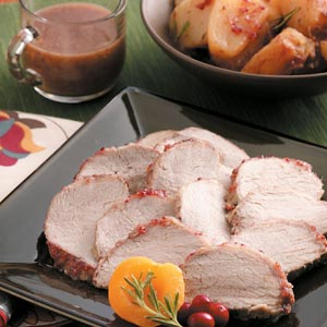 Cranberry-Apricot Pork Roast with Potatoes Recipe