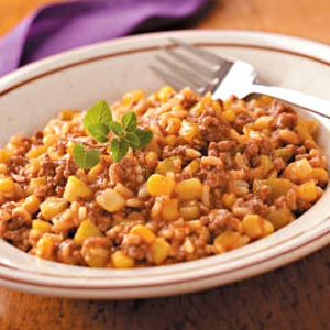 Beefy Tomato Rice Skillet Recipe