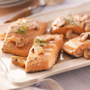 Salmon with Lemon-Mushroom Sauce Recipe