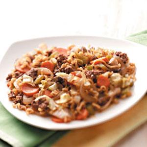 Ramen-Vegetable Beef Skillet Recipe