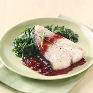 Broiled Halibut Steaks with Raspberry Sauce Recipe