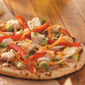 Quick Thai Chicken Pizzas