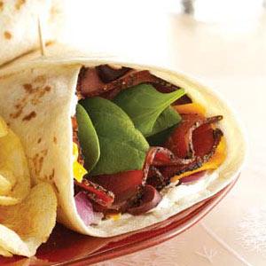 Spinach Pastrami Wraps Recipe