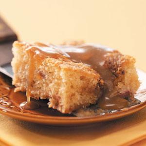 Rhubarb Coffee Cake with Caramel Sauce Recipe