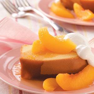 Pound Cake with Brandied Peach Sauce Recipe