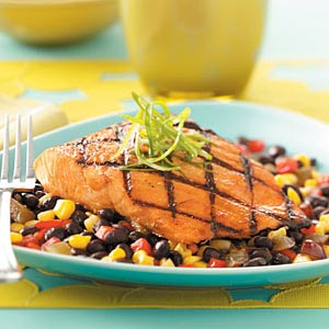 Grilled Salmon with Black Bean Salsa Recipe