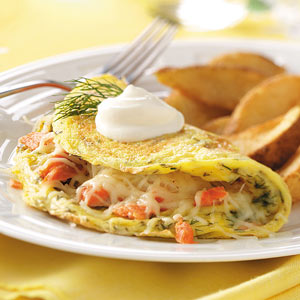 Dilled Salmon Omelets with Creme Fraiche Recipe