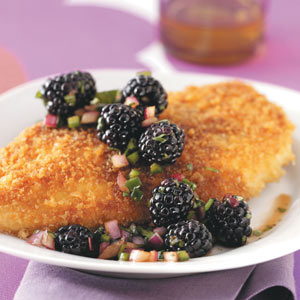 Crumb-Coated Chicken & Blackberry Salsa Recipe